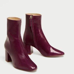 Zara basic purple leather block heel boots size 39